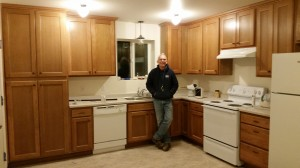 Fred in the finished  kitchen.